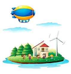 Children near the windmill vector image vector image