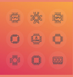 chipset cpu line icons set vector image vector image