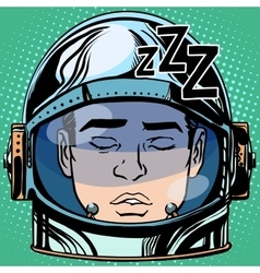 Emoticon sleep emoji face man astronaut retro vector