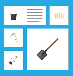 Flat icon farm set of wooden barrier cutter vector