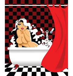 Girl in the bath vector