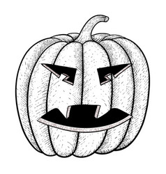 Halloween pumpkin black and white hand drawn vector