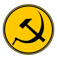 Hammer and sickle sign button vector