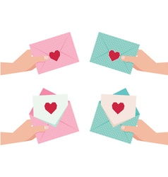 Hand giving an envelope with Valentine card vector image vector image