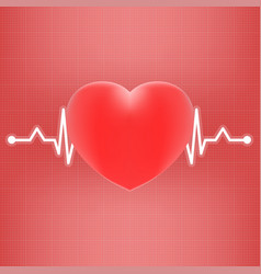 heart and heart beat on ekg isolated on a vector image