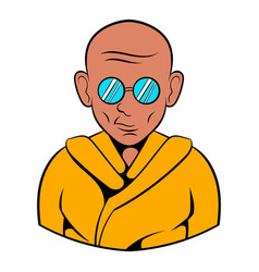 indian monk in sunglasses icon cartoon vector image