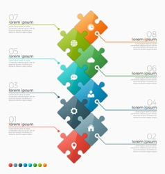 Infographic template with 8 puzzle sections vector