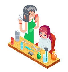 Isometric children teenager hairdresser character vector