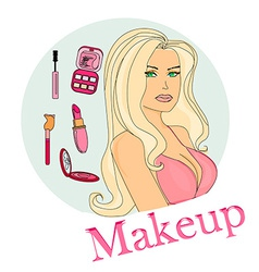 Make-up girl doodle vector image vector image
