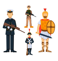 military soldier character weapon symbols armor vector image