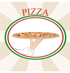 Pizza classic tray vector image