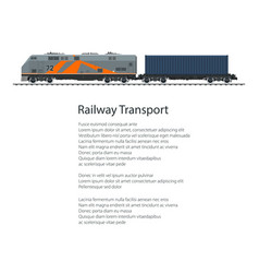 poster locomotive with cargo container vector image vector image