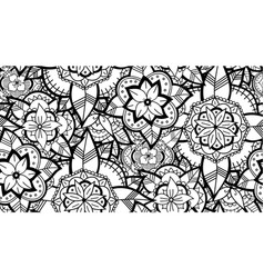 seamless black and white flower pattern vector image vector image