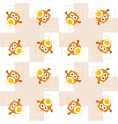 Seamless orange owl pattern for kids vector image vector image