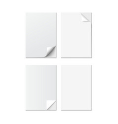 Set of White A4 size paper sheet with different vector image