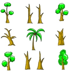 Simple tree set on doodles vector