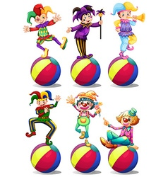 Six characters of clowns vector