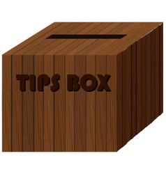 Square wooden box for tips vector