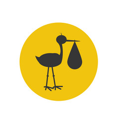 Stork brought the baby silhouette vector