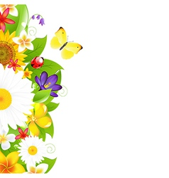 Summer flowers and leaf border vector