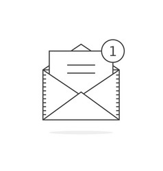 thin line email notification icon vector image vector image