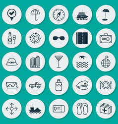 Travel icons set collection of wine cop hat vector