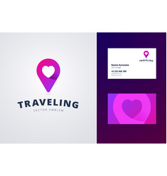 traveling logo and business card template vector image vector image