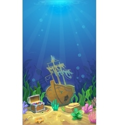 Underwater landscape pirate chest with treasures vector
