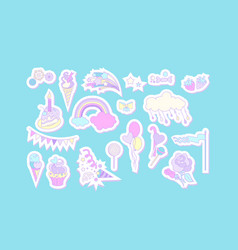 Unicorn multicolor stickers with cake sweets ice vector