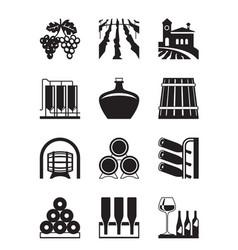 vineyard icon set vector image vector image