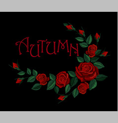 vintage autumn lettering flower red rose vector image vector image