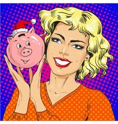 Woman holding piggy bank vector