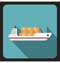 Cargo ship icon flat style vector