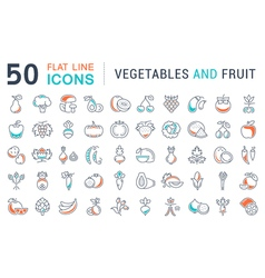 Vegetables and fruit line icons 2 vector