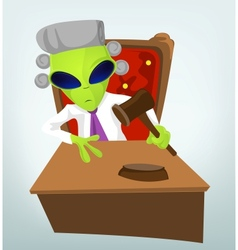 Cartoon judge alien vector