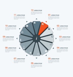 Infographic temlate with dodecagon 12 options vector