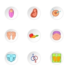 Expectant mother icons set cartoon style vector