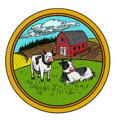 Rural landscape in circle vector