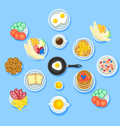 Traditional breakfast food set vector