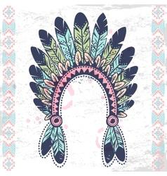 Tribal native American fetaher headband vector image