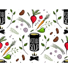 Seamless pattern cooking vegetable soup vector