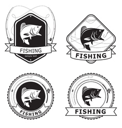 Fishing bass label vector