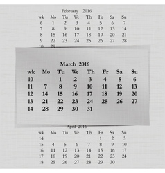 Calendar month for 2016 pages march start monday vector