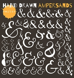 Set of hand drawn ampersands ink vector