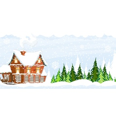 Snow covered farmhouse vector