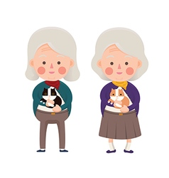 Senior women holding cat cartoon character vector