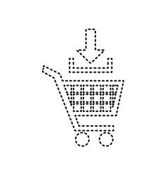 Add to shopping cart sign black dashed vector