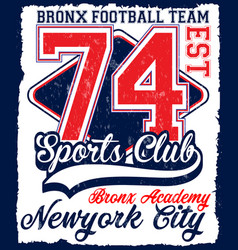 American football athletic new york varsity sport vector