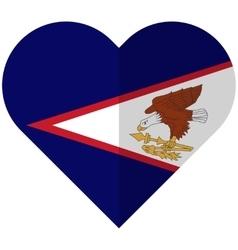 American Samoa flat heart flag vector image vector image