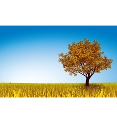 Autumn tree on field vector